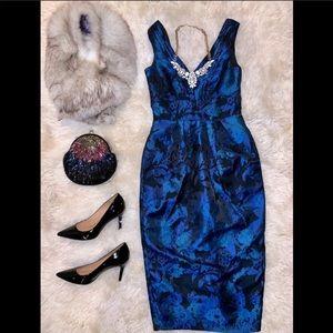 New Blue Dark Floral Brocade Midi Dress H&M